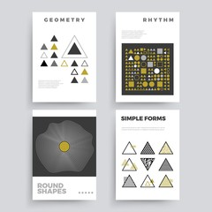 Set of abstract geometric 80's posters with simple shapes and retro colors