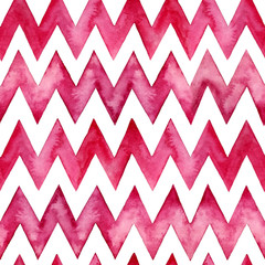 Abstract watercolor geometric pattern isolated on white. Seamless pattern with zigzag lines for background, wallpaper, textile, wrapping paper.