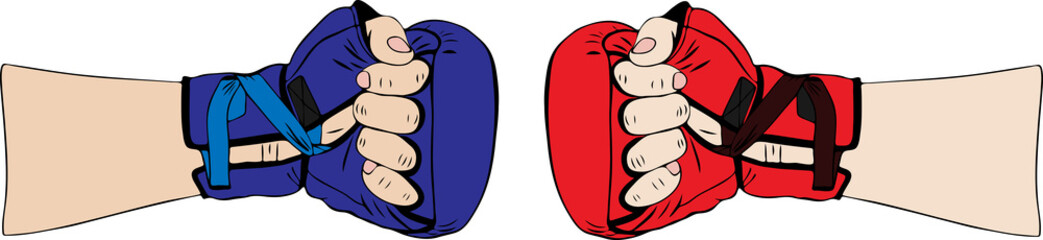 hand in red boxing glove and in blue