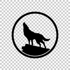 wolf. simple icon. On transparent background.