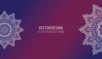 Abstract floral effect banner with text. Mandala design texture background - Vector illustration
