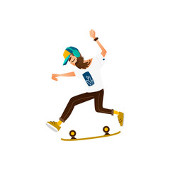 Young hipster man with beard, moustache and headphones riding skate, skateboard, flat cartoon vector illustration isolated on white background. Young hipster man with skate, skateboard, street style