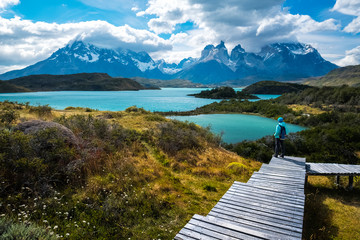 Hiker in Torres del Paine National Park, Chile