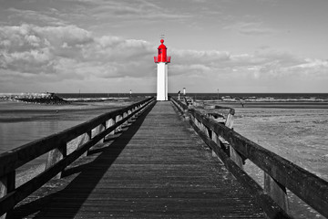 Trouville lighthouse, red selective color, Normandy, France