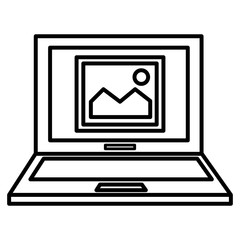 laptop computer with picture vector illustration design