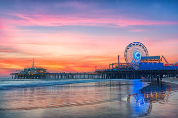 The Santa Monica Pier at sunset, Los Angeles, California. Wall mural