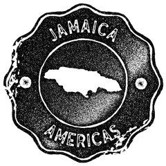 Jamaica map vintage stamp. Retro style handmade label, badge or element for travel souvenirs. Black rubber stamp with country map silhouette. Vector illustration.