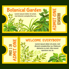 Botanical garden tickets with tropical plants. Isolated vector illustration.