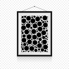 Simple circles photo frame on the wall - black and white background template