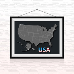 USA states map in the photo frame hanged on the wall
