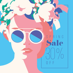 Spring Sale Banner, Sale Poster, Sale Flyer. 30 Off, Vector illustration.