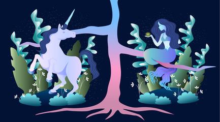 magic mermaid and unicorn