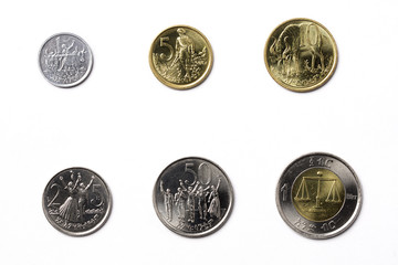 Ethiopian coins on a white background