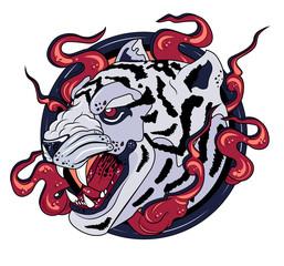 White tiger print logo