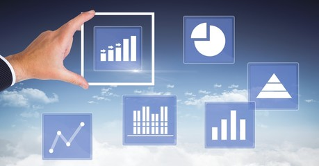 Hand touching business chart statistic icons