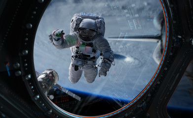 Astronaut working on a space station 3D rendering elements of this image furnished by NASA