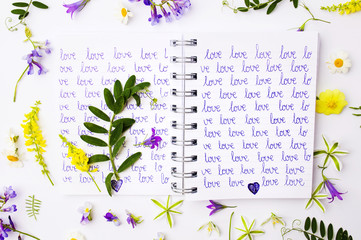 Word love written on a notebook with wildflowers