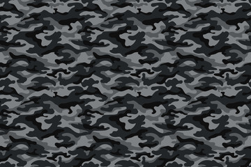 Army camouflage texture, black and gray. Vector