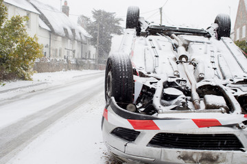 Overturned Car After Traffic Accident In Winter Snow