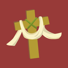Cross with cloth isolated on white background vector illusatration, christianity religius symbol of faith