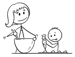 Cartoon stick man drawing conceptual illustration of mother or mom and son cooking or baking together in kitchen.