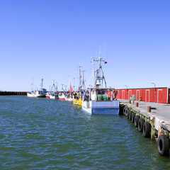 Laesoe / Denmark: Fishing cutters moored at the pier in the fishing port of Oesterby Havn