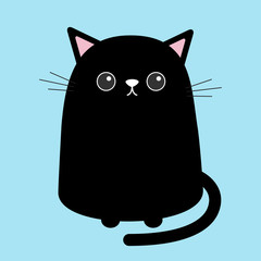 Black cute cat sitting kitten. Cartoon kitty character. Kawaii animal. Funny face with eyes, mustaches, nose, ears. Love Greeting card. Flat design. Blue background Isolated.