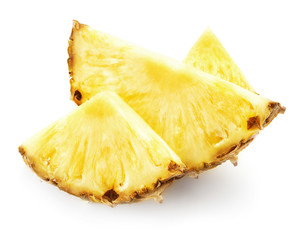 Wall Mural - three slices of pineapple isolated on white background