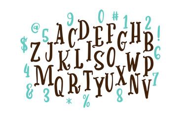 Handwritten calligraphy font. Vector alphabet. Hand drawn letters