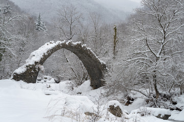 Arch bridge in mountains during winter, South Alps, Italy