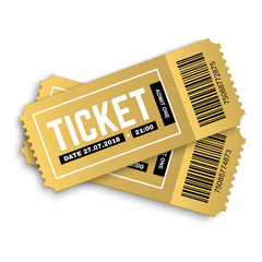 PrintTwo, pair vector golden tickets isolated on white background. Cinema, theatre,  concert, play, party, event and festival gold ticket realistic template set. Ticket icon for website.