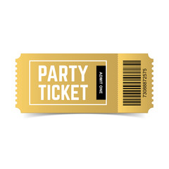 Vector golden party ticket isolated on white background. Event festival gold ticket realistic template. One of my ticket collection.