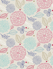 Hand drawn doodle floral pattern. Flowers and leaves