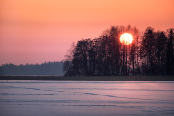 Wall Murals Lavender Scenic sunset with big sun at winter evening in Finland