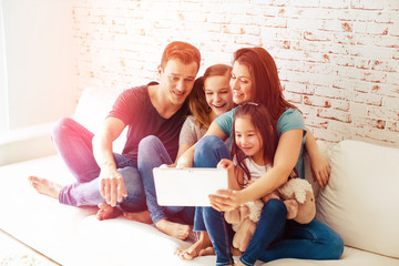 happy internet tablet pc family young modern