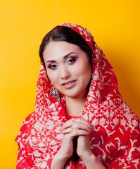 Closeup portrait of young indian girl in sari