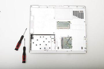 Back side of a modern laptop computer without battery
