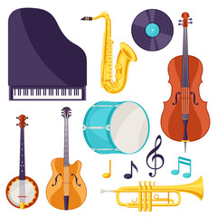Set of musical instruments. Jazz, blues and classical music