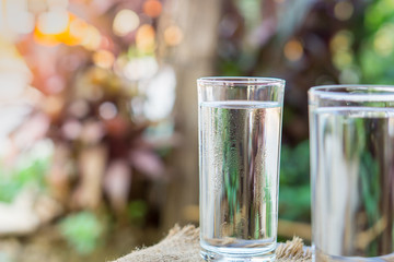 glass of pure fresh water over nature morning background