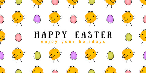 Happy Easter card with chicken and eggs