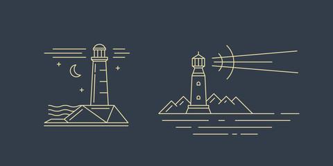 Lighthouse logotype. Line icons