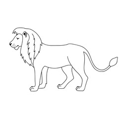 Isolated black outline lion on white background. Side view. Curve lines. Page of coloring book.