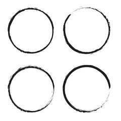 Set of grunge circles.Vector grunge round shapes.
