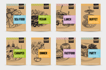 Beautiful vector hand drawn catering servise food card set.
