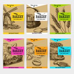 Beautiful vector hand drawn bakery card set.