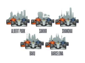 Sakhir, Barcelona, Shanghai, Melbourne, Baku. Cityline and racing cars on Grand Prix.