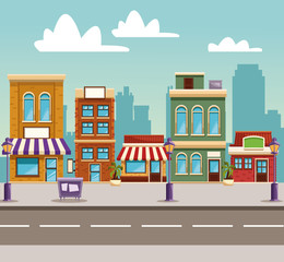 Town buildings cartoon vector illustration graphic design