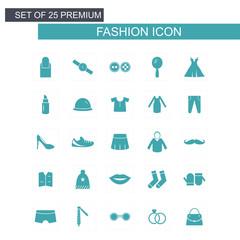 Fashion icons set blue