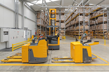 Electric Pallet Truck in Warehouse