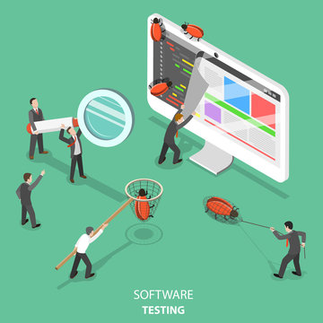Software testing flat isometric vector concept. People are taking off the web page that looks like paper sheet to search and catch software bugs.